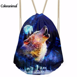 18431a02d85a wolf backpacks 2019 - INSTANTARTS Men s Sports Bags Cool Animal Wolf Drawstring  Backpack Outdoor Gym Travel