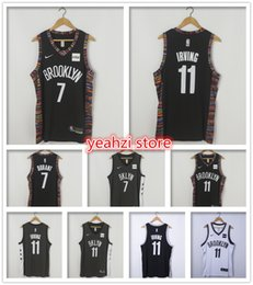Pantalones cortos de baloncesto de jersey negro online-Redes para hombres # Kevin # 7 Durant Kyrie # 11 Irving jersey Brooklyn Caris 22 LeVert 72 Biggie black the City shorts Baloncesto Jerseys