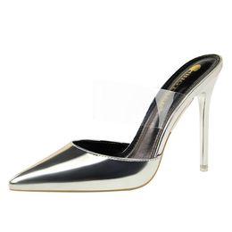 pantofole semplici Sconti Simple Metal With Slim Stiletto Bocca poco profonda a punta vuota Parola trasparente con pantofole da donna con tacco alto jooyoo