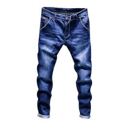 тощие джинсы для мужчин Скидка Laamei Мода Дизайн Узкие Джинсы Мужчины Прямые Темно-Синий Цвет Печатных Мужская Повседневная Байкер Джинсовые Джинсы Мужской Стрейч Брюки