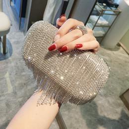 Bolsa de brillo online-Brillantes diamantes de imitación de la borla del embrague bolso de los bolsos de noche de metal cadena hombro mensajero bolso bolso de noche para el bolso de la boda