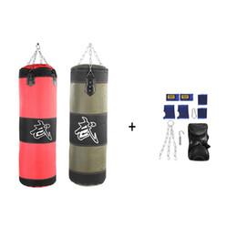 2020 saco de areia para kick boxing 60 cm 80 cm 100 cm 120 cm Vazio Saco De Areia De Boxe Pendurado Kick Sandbag Luta de Treinamento De Boxe Karate Sandbag Setwith Luvas De Pulso Guarda saco de areia para kick boxing barato