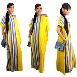 2019 vestido estilo marca senhora 3 cores nova moda 100% algodão impressão elástico estilo sem mangas dashiki famosa marca stripe vestidos longos para senhora PARA FESTA vestido estilo marca senhora barato