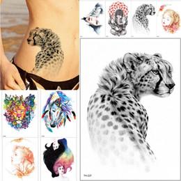 tatuagem lobo mulher Desconto 21 * 15 cm Novo À Prova D 'Água Etiqueta Do Tatuagem Temporária Lobo Tigre Animais Padrão de Transferência de Água Do Tatuagem Body Art Tatuagem Falsa Mulheres Homens SH190724