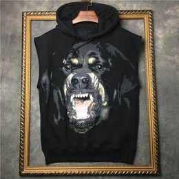 mode hauben männer Rabatt Frühjahr neue Mode Tees Rottweiler Hund drucken T-Shirt mit Kapuze Tank Top Weste T-Shirt für Männer Frauen schwarz Farbe Baumwolle