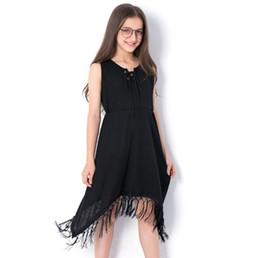 Niñas grandes vestidos de los niños borla irregular princesa vestido niños con cordones Arcos corbata de punto chaleco vestido de verano ropa del cabrito fit 4-15T F7 desde fabricantes
