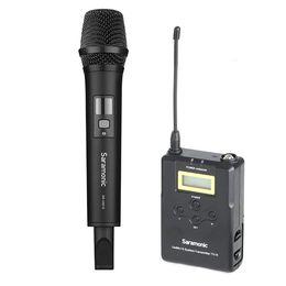 интервью с камерой микрофона Скидка Wireless Handheld Microphone Camera, Saramonic Uwmic15A UHF Interview Microphone System for Video Recording Nikon Canon DSLR