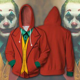 Chaqueta con cremallera joker online-Joker película 3D de impresión cosplay Hoodies Hombres chaqueta con capucha con la cremallera suelta y cómoda