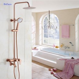 "Chuveiros de rosa on-line-Dofaso luxo Rose Gold cobre torneira do chuveiro de Banho antigo Chuveiro Set 8 ""Kit de chuva banho sistema de bronze cromado"