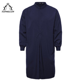 010d618a09 TOPMELON Kaftan Mens Muslim Islamic clothing Hombre Arabic Robes Navy Black  Red White Solid Jubba Thobe for Men Pakistan Abaya