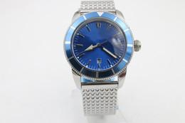 Relojes superocean online-Lujo Superocean 44mm cara azul Hebilla Pin Envío gratis Reloj de hombre casual Zafiro hebilla original Estilo clásico Regalo de Navidad