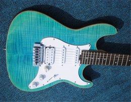 weiße flamme ahorn gitarre Rabatt freies Verschiffen Beste 6 Saiten Gitarre mit blauer Farbe platzen Flamme Maple, hochwertige Tonabnehmer, mit weißer Farbe Hardware-E-Gitarren