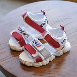 schwarze sport-sandale Rabatt 2019 neue Jungen Sommer Mode Schnalle Strand Sandalen Baby Rutschfeste Kausale Schuhe Kinder Schwarz Weiche Sport Atmungsaktive Sandalen