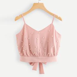 2019 maglia donna Camisole Fashion Womens Vest Top senza maniche in chiffon Solid Pearl Perline Camis Crop Top Women Cami Halter Top maglia donna economici