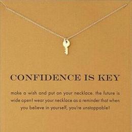 Niedliche silberne halsketten online-Mit karte Süße Dogeared-Halskette in Silber- und Goldfarbe mit Schlüssel (Vertrauen ist Schlüssel) Key Pendant Necklaces Inspirational Necklace