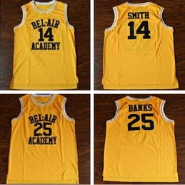 Camiseta de baloncesto estilo libre online-Will Smith # 14 Bel-Air Academy Baloncesto Carlton Banks # 25 Bel-Air Academy Película Baloncesto Jersey Hombres Estilo de envío gratis