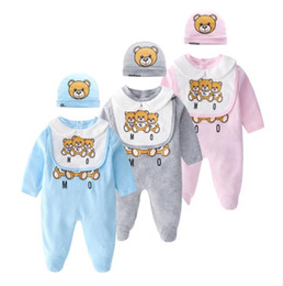 Retail baby boy girl Rompers clothes newborn baby Long sleeves Cartoon Jumpsuit Kids Baby Clothes newborn clothing Infant romper + hat + bib desde fabricantes