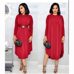 vestidos violeta rojo para las mujeres Rebajas Ropa africana elegante vestido de terciopelo mujeres 2019 primavera otoño o-cuello de manga larga sólido púrpura rojo maxi dress cinturón partido