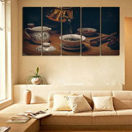 tea wall decor Promo Codes - 5 Pieces Set UNFRAMED Painting Chinese Traditional Tea Culture Canvas Wall Art HD Printing Room Decor Modern Poster