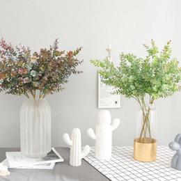 2019 piccole piante 2019 Nuovo 1 PZ Pianta artificiale per decorazione floreale Piccola foglia di eucalipto Simulazione foglia fiore pianta parete bottiglia falso fiore sconti piccole piante