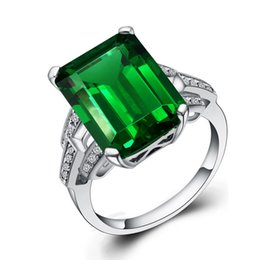 size white gold band Coupons - JewelryPalace Luxury 5.9ct Created Green Emerald Cocktail Ring Genuine 925 Sterling Silver Rings for Women Fine Jewelry