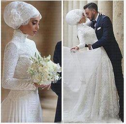 Canada 2019 Manches longues Robes De Mariée Musulman Col Haut Dentelle Longue robe de mariage Islamique Arabe Robe De Mariée Robe De Mariée De Novia cheap islamic arabic wedding dress Offre