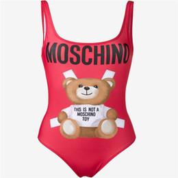 Uma peça de maiô sexy on-line-Moda Bonito Pouco Urso Mulheres Fino Swimsuit Sexy One-piece Praia Biquíni Tendência De Cintura Alta Leaky Voltar Swimwear