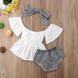 3pcs Toddler bébé fille vêtements ensemble dentelle creux manches courtes haut avec rayures shorts et bandeau 3pcs tenues ensemble vêtements ? partir de fabricateur