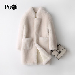 Pudi A17833 Echt Wolle Pelzmantel Jackenmantel der Frauen Winter warm echten Pelz PU Leder innen cremefarben