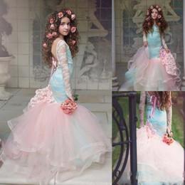 bellissimi abiti rosa per i bambini Sconti Bella rosa sirena fiore ragazze abiti 2019 pizzo maniche lunghe stanco tulle pageant abiti per la bambina bambini vestiti da partito ba9221