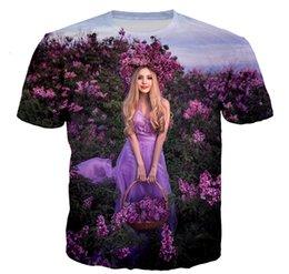 Довольно короткие юбки онлайн-Мода Мужчины / Женщины 3D печати цветы и красивая девушка юбка повседневная футболка с коротким рукавом TF71