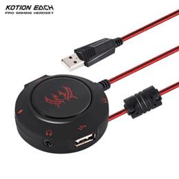 Deutschland KOTION EACH USB 2.0-Soundkarte HUB-Stereo-Kopfhörer-Mikrofonadapter 3D-Surround-Sound Externer Audio Converter S2 für PC-Laptops BA Versorgung