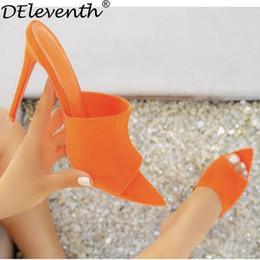 Saltos de laranja quente on-line-Atacado simmi ego briana cadela quente hot stiletto pontudo chinelos de salto alto sandálias sapatos de mulher doce orange azul verde nua