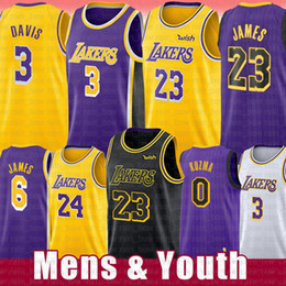 l basketball jerseys Promo Codes - Men's LeBron 6 James NCAA Anthony 3 23 Davis Basketball Jersey 2019 Embroidery Youth Kobe 24 Bryant Kid's rish High School college Jerseys