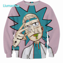 characters print sweatshirt Promo Codes - New Cartoon Rick and Morty Sweatshirts Men Women Streetwear Hipster Pullovers Funny Scientist Rick 3d Print Sweatshirt tops