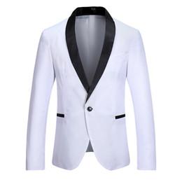Costume classique noir blanc en Ligne-Mens Classique Noir Revers Blanc Costumes Veste Plus La Taille Mariage Slim Fit Hommes Blazer Stage Costumes Pour Chanteurs Costume Homme