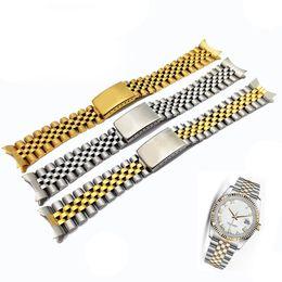 Bandas de reloj sólido online-13 17 20 mm Puro sólido Acero inoxidable de dos tonos Hueco Extremo curvo Sólido Vínculos de la correa de la correa del reloj para Rolex Estilo antiguo Jubilee Pulseras