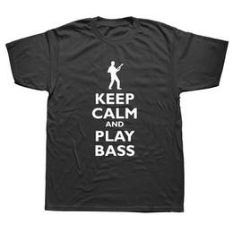 manche de guitare court Promotion Gardez votre calme et jouez de la guitare basse T-shirt pour homme rock Guitariste Mangez Sommeil Jouez la basse Mans en coton à manches courtes T-shirt