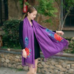 Argentina 200 * 70 cm mujer peonía estilo nacional peinado bordado, imitación cachemira bordada bufanda larga, chales borla en varios colores l supplier pashmina embroidered shawl scarf Suministro