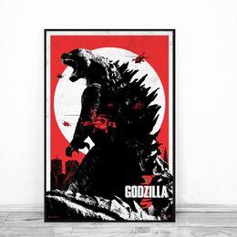 Anime arte di parete online-Godzilla Movie Anime Canvas Pittura Olio stampa Poster Wall Art HD Immagine per bambino Soggiorno Home Decor