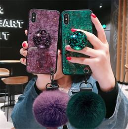 2019 caja del teléfono de cristal diy Estuches de lujo DIY Crystal Holder Fur Ball Correa Caja del teléfono para iPhone X Xs Max TPU caja del teléfono de cristal diy baratos