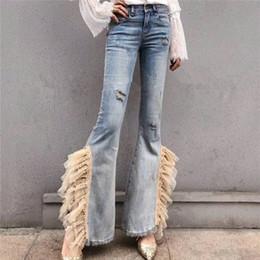 Canada 2019 Mode Streetwear Femmes Européen épais travail dentelle ruban ruban perlé mince véritable trompette côté split Flare Denim Jeans Pants cheap beaded lace ribbons Offre