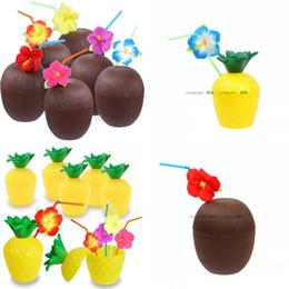 Decorazioni di cocco online-Coconut Drink Cup Tazze di ananas Hibiscus Straw Hawaii Condimento per feste Summer Beach Pool Decoration 4 5xca F1