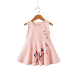 Patrón de mariposa vestidos de verano online-Ropa para niños ropa de verano vestido de algodón estampado de mariposa linda niña princesa vestido ropa para niños