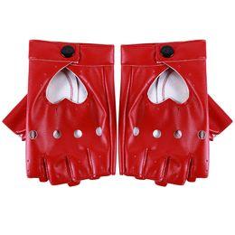 Белые кожаные перчатки онлайн-Bigsweety Women Pu Leather Gloves Luvas Guantes Mujer For Women Girls Red Balck White Loving Heart Gloves