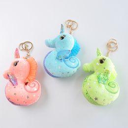 Juguete unicornio gratis online-3 Colores Opcionales Seahorse Unicorn Peluches 12 cm Unicornio Llavero Colgante Grab Figuras de Acción Muñeca al por mayor Envío Gratis L227