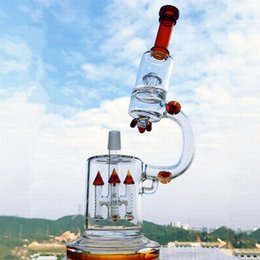 recycler water bong 18mm Coupons - HBKING K2B glass bong tall dual Rocket UFO Perc recycler perc glass Water pipe big oil rigs 18mm recycler microscope heady dab rig