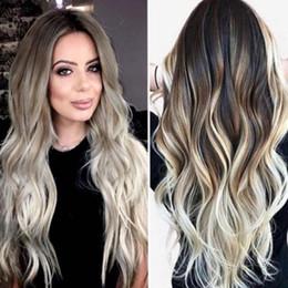 2019 длинный естественный вьющийся парик Sexy Women Long Hair Wigs Gradient Gray Party Wigs Long Curly Hair Mixed Colors Synthetic Natural Wave Wig 2M81119 дешево длинный естественный вьющийся парик