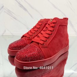 Lace-Up cl andgz Red bottoms shoe High-Top For Men Red Leather diamond  Rhinestone Front casual lovers Sneakers Flat Loafers d9e379107c38