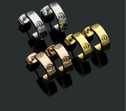 Серьги для пары онлайн-Модный бренд свадебные Серьги Стержня 18 К золото серебро розовое золото нержавеющая сталь Любовь бриллиантовое кольцо Серьги мужчины Женщины пара Ювелирный подарок